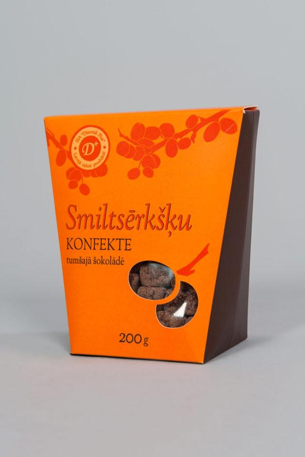 smiltsērkšķu konfekte tumšajā šokolādē